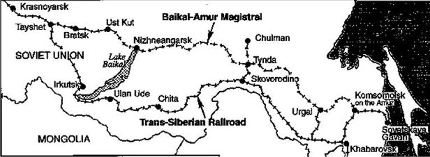 Map of the BAM railway line of the trans siberian