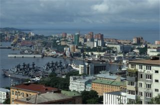 Vladivostok at the eastern end of the trans siberian railroad